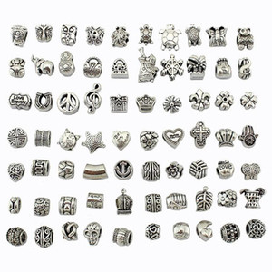Antique Silver Plated Alloy Big Hole Charms Spacer Beads Fit Pandora Bracelet DIY Jewelry Necklaces 2020