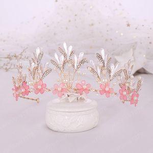 Romantic Cute Pink Flower Tiara Hanmade Crowns Bridal Wedding Diadema Hair Tiaras Women Wedding Jewelry Accessories