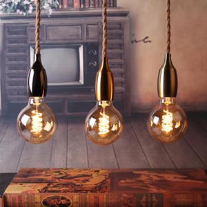Nordic cuerda del cáñamo luces pendientes accesorio E27 LED creativa moderna lámpara colgante retro Industrial Lampen bricolaje para el dormitorio Living Room Hotel