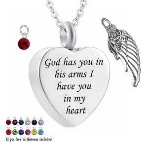 Colliers Urne pour Cendres Dieu vous a dans ses bras Je vous ai dans mon coeur Pendentif commémoratif de la crémation Collier de 12 pièces