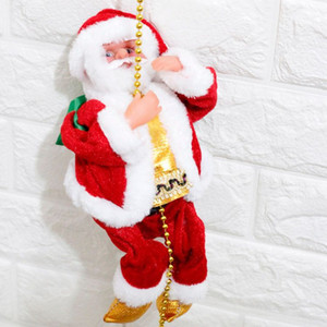 Elektrik Noel Baba Yeni Stil elektrik tırmanma halatı Noel Baba yaratıcı peluş Noel Baba bebek oyuncakları dekorasyonlar