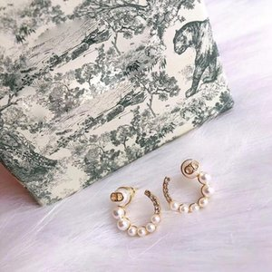 2020 Top Quality Famous Designer Gold Plated Ear Studs Luxury Earring Fashion Copper Pearl Earrings with Crystal For Women with gift box