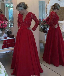 2019 New Red Lace Mother of the Bride Dresses for Weddings buttons chiffon long sleeves v neck Beaded A Line Evening Groom mother Dresses