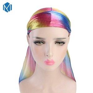 New Unisex Long Silk Satin Hip Hop Hat Turban Wigs Breathable Chemo Cap Pirate Hat Men Women Hair Accessories Headwrap