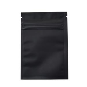 200pcs / lot plusieurs tailles noir mat en aluminium feuille d'emballage sac pochette zip sac d'emballage café perle paquet sac sac de stockage de nourriture séchée