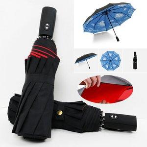 Oversize Reinforced Umbrella Three Folding Male Female Parasol Full Automatic Umbrella Rain Women Windproof Business