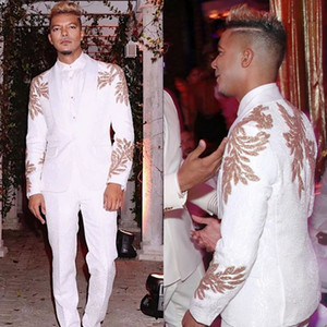 Lüks Tasarım Damat smokin Şal Yaka Groomsmen Mens Suits Altın Aplike Man Ceket Blazer Suit (Ceket + Pantolon)