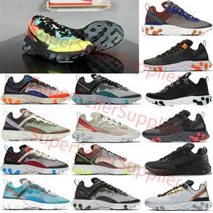 Nike air react element 87 55 Undercover 87 55 mujeres Bone triple luz solar real negro del equipo rojo para hombre entrenadores deportivos zapatilla de deporte de corredor