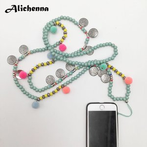 Cheap Pendant Necklaces Long Cell Phone Neck Necklace Strap Green Wooden Beads Crystal Chain Lanyard U Disk ID Work Card Fashion Mobile