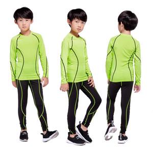 Çocuklar rashgard kiti Futbol eğitimi termal iç çamaşırı temel katman Hızlı kuruyan pantolon spor gömlek çocuk