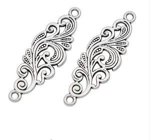 100 unids / lote aleación Antique Silver Leaf Connectors DIY encantos colgante para DIY pulsera collar joyería que hace 30x10mm