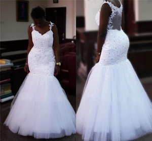 African White Lace Wedding Dresses Plus Size Spaghetti Straps Crystals Beads Lace Tulle Sheer Back Bridal Gowns 2020 Vestido De Noiva