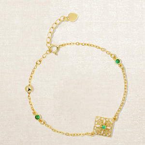 jewelry S925 sterling silver bracelets 18k gold plated carving lace emerald bracelets for women hot fashion