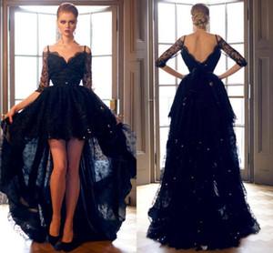 2020 Новый Урожай Высокие Низкие черные платья выпускного вечера Off плеча Асимметричный Половина рукава из бисера Кружева партии вечера платья Vestidos 4617