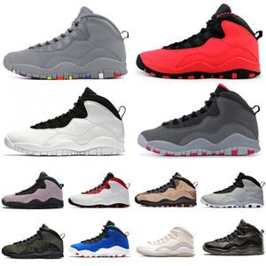 10 GS Fusion Красный дизайнер мужчин ботинки баскетбола 10s Woodland Camo Тинкер Desert Camo Цемент Powder Blue Stealth Jumpman мужская спортивная обувь