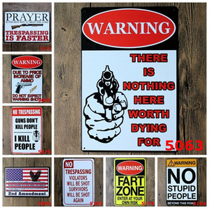 "40 Styles Metal Tin Sign "" Warning"" Metal Poster Retro Iron Painting Family Rules Bar Pub Cafe Home Restaurant Store Decoration"