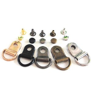 9*14mm Metal Copper D Ring Buckle Carabiner Installation Nail DIY Shoes Strap Buckle Bag Accessories Leather Craft
