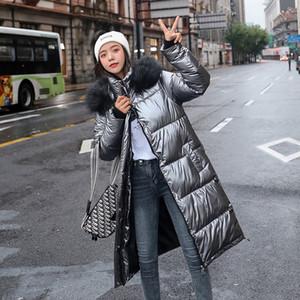 새로운 여성 롱 코트 파카 여성 광택 겨울 따뜻한 두꺼워 가짜 모피 코트 실버 다운 재킷 후드 재킷 코트