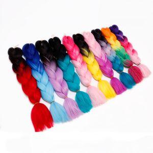 Venta caliente Kanekalon Jumbo Ombre trenzando pelo al por mayor 100 g / pcs Africano Crochet trenzas pelo para las mujeres Extensiones de cabello sintético de 24 pulgadas
