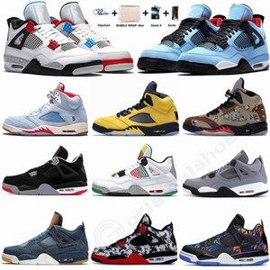 4s ciò che il denaro Grey Cactus Jack di razza 4 pattini di pallacanestro del Mens Black Cat White Cement formatori 5s Ali Designer Sneakers Sport