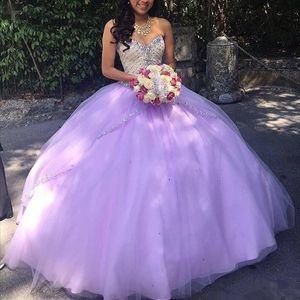 Lilás Quinceanera Dresses Querida frisada Zipper Sequins o chão Tulle 2020 Cheap Prom Vestidos Vestidos de Debutante 15 Anos