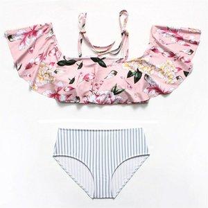 2018 19 novas meninas Flouncing strapless biquíni maiô pai-filho swimsuit swimsuiting qualidade superior