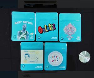 COOKIES Californie 3.5G Mylar 420 Emballage Sacs sécurité enfants Gelatti lait de céréales Gary Payton biscuits Sac avec le code de sécurité et autocollants