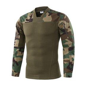 Camouflage a maniche lunghe Uniform Combat Training camicia maschile caccia esterna Campo di tiro Tops tattico militare traspirante Sport