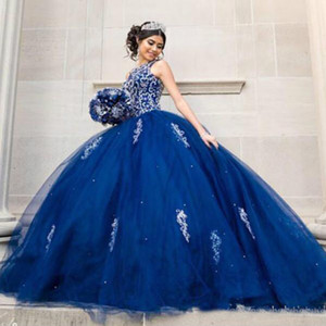 Cristaux de perles de luxe dentelle Quinceanera Crew Backless Royal Blue robe de bal Soirée douce 16 robes de bal