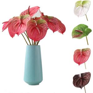 """Falso singolo stelo anthurium 25.2 """"Lunghezza simulazione reale tocco anthurium per fiori di nozze decorativi fiori artificiali"""