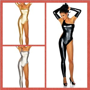 Night Bar clothing singer dancers DS performance clothing patent leather gold stamping single leg Harena performance bar uniform