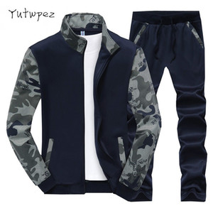 Camuflagem Do Exército Homens Treino 2018 Hoodies Set Velo Dos Homens Ativo Sweat Suit Moletons Homens Jaqueta Com Capuz Calças Treino