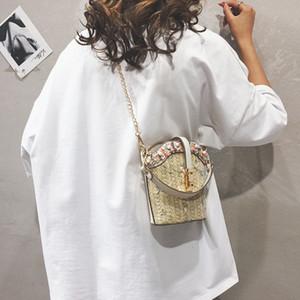 OCARDIAN Женщины пляж Сумка Lace Embroid соломы Ковш льняной ремень сцепления Малый Женские сумки мешковины Square Bag
