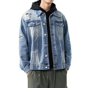 2020 Spring Autumn Clothes Men Denim Jacket Plus Size 5XL Outwear Jeans Coat Plus Size Ripped Hole Denim Jacket Letter Print Jackets