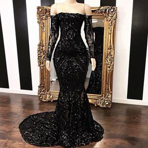Vestidos fuera del hombro sirena Vestidos de baile 2019 Vintage negro de manga larga Barrido Strain Sequined Vestido de noche formal Vestidos de fiesta BC1454