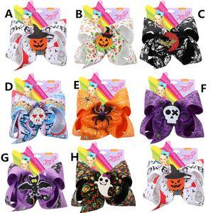 7 pollici clip JOJO capelli delle ragazze di Halloween Bow zucca Paillettes Skull Spider Barrettes Hairbow dei capelli della forcella accessori capi