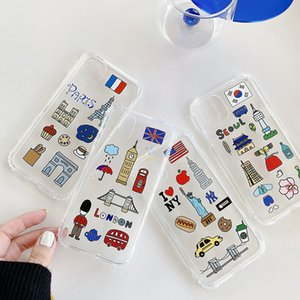 I Love Paris London Seoul New York City Label-transparente freie weiche TPU Handy-Fall Handy-Abdeckung für iphone 11 pro max 7 8 Plus