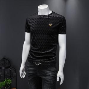 2020 Nuova moda uomo a maniche corte T-shirt da uomo in rilievo in rilievo Tide Brand Trend Versione coreana del Wild Men Compassionate Slim