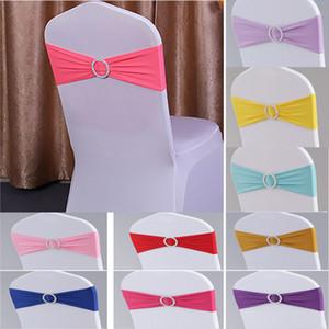 Élastique président bande couvre ceintures pour fête de mariage Prom avec cerceau boucle chaises Spandex Sash Boucles Cover Party de mariage gratuit
