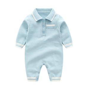 Bebê infantil designer de Boy romper Turn Down Collar roupas de malha Meninas manga comprida Sólidos romper a roupa colorida Romper