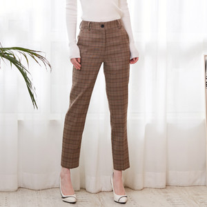 2019 Spring Plaid Basic Pants Women Casual High Waist Long Harem Pants Female Zipper Office Lady Pants Bottoms