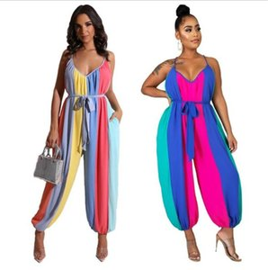 Women V Neck Summer Jumpsuits Fashion Striped Loose Sleeveless Lantern Rompers 20ss New Casaual Women Clothing