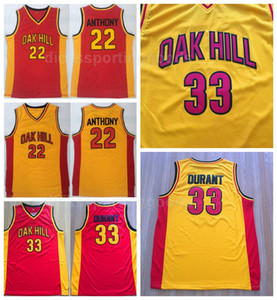 NCAA College Oak Hill 33 Kevin Durant Jersey Hombres High School Basketball 22 Carmelo Anthony Jerseys Team Amarillo Rojo Visitante