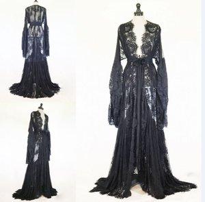 여성 겨울 로브 블랙 화이트 섹시한 잠옷 쉬어 레이스 슬리밍 롱 바스 로브 파자마 New Prom Bridesmaid Shawel