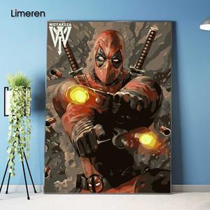 Foto en la pared de acrílico Deadpool Avenger dibujo pintura al óleo por números abstractos del regalo DIY colorear increíble Por Números lienzo