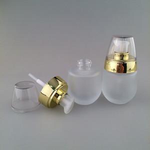 Nuovo 30ml / 1oz Dispenser di bottiglie di viaggio per vaso cosmetico in vetro smerigliato per Essence Shampoo Pompa pressata Contenitori cosmetici vuoti