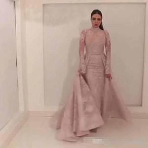 Yousef aljasmi Vestidos de noche con falda de tren de corte fijo Falda oriental Vestidos de noche 2018 Vestido de fiesta de encaje Labourjoisie