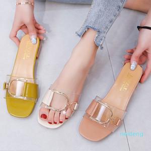 Zapatos calientes de la venta que las mujeres transparentes de sandalias de moda femenina salvaje Una palabra Arrastre Mujer de las lentejuelas de metal suave y cómodo antideslizante-rosa