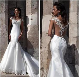 2019 Milla Nova pas cher, plus la taille boho dentelle sirène robes de mariée robes de mariée Satin balayage train Abendkleider