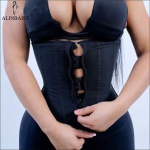 Женщины Латекс Талия Тренажер Body Shaper Корсеты С Молнией Cincher Корсет Топ Пояс Для Похудения Черный Shapers Shapewear Плюс Размер SH190729